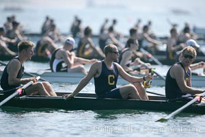 Cal (UC Berkeley) prepares for the final of the men's JV finals, 2007 San Diego Crew Classic, Mission Bay