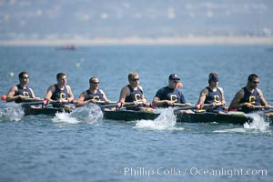 Cal (UC Berkeley) on their way to winning the men's JV final, 2007 San Diego Crew Classic. Mission Bay, California, USA, natural history stock photograph, photo id 18665