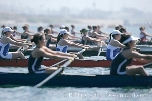 SUNY Buffalo (in focus) at the start of the women's Cal Cup finals, 2007 San Diego Crew Classic, Mission Bay