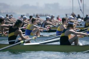 Awaiting the start of the men's Cal Cup, UCLA in focus, 2007 San Diego Crew Classic, Mission Bay