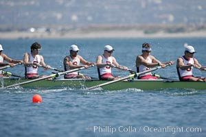Stanford men en route to winning the Copley Cup, 2007 San Diego Crew Classic, Mission Bay
