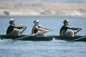 USC women warm up at the starting line.  They would win the finals of the Jessop-Whittier Cup, 2007 San Diego Crew Classic. Mission Bay, San Diego, California, USA, natural history stock photograph, photo id 18692