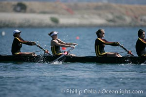 USC women warm up at the starting line.  They would win the finals of the Jessop-Whittier Cup, 2007 San Diego Crew Classic, Mission Bay