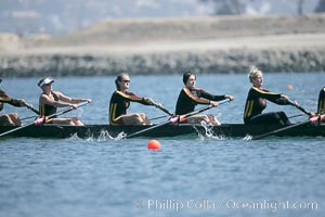 USC women warm up at the starting line.  They would win the finals of the Jessop-Whittier Cup, 2007 San Diego Crew Classic. Mission Bay, San Diego, California, USA, natural history stock photograph, photo id 18694