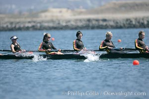 USC women warm up at the starting line.  They would win the finals of the Jessop-Whittier Cup, 2007 San Diego Crew Classic. Mission Bay, California, USA, natural history stock photograph, photo id 18695