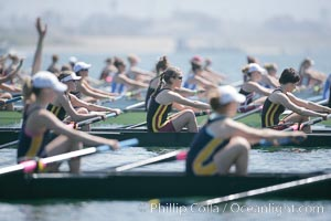 Awaiting the start of the finals of Jessop-Whittier Cup, USC (in focus) women would win, 2007 San Diego Crew Classic, Mission Bay