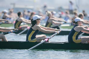 Image 18697, Cal (UC Berkeley) women en route to a second place finish in the Jessop-Whittier Cup final, 2007 San Diego Crew Classic. Mission Bay, California, USA, Phillip Colla, all rights reserved worldwide.   Keywords: california:collegiate rowing:jessop-whittier cup:mission bay:san diego:san diego crew classic:usa.