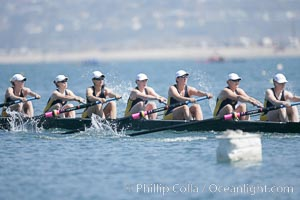 Cal (UC Berkeley) women en route to a second place finish in the Jessop-Whittier Cup final, 2007 San Diego Crew Classic. Mission Bay, San Diego, California, USA, natural history stock photograph, photo id 18703