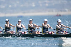 Image 18704, Cal (UC Berkeley) women en route to a second place finish in the Jessop-Whittier Cup final, 2007 San Diego Crew Classic. Mission Bay, California, USA, Phillip Colla, all rights reserved worldwide.   Keywords: california:collegiate rowing:jessop-whittier cup:mission bay:san diego:san diego crew classic:usa.