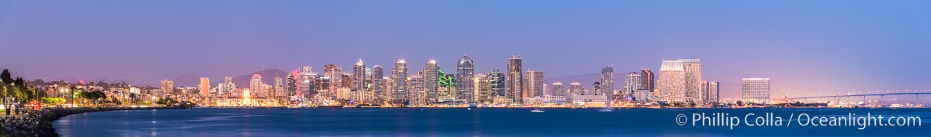 San Diego downtown city skyline at night, viewed from Harbor Island., natural history stock photograph, photo id 29350