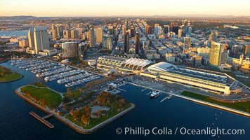 San Diego Embarcadero Marina Park, with yacht basin, San Diego Convention Center (right), Marriott (center) and Grand Hyatt (left) hotels. California, USA, natural history stock photograph, photo id 22387