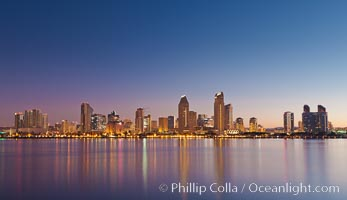 San Diego downtown city skyline and waterfront, sunrise, dawn, viewed from Coronado Island. San Diego, California, USA, natural history stock photograph, photo id 27090