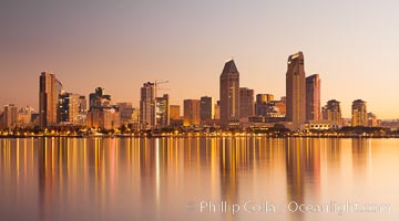 San Diego downtown city skyline and waterfront, sunrise, dawn, viewed from Coronado Island