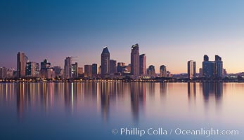 San Diego downtown city skyline and waterfront, sunrise, dawn, viewed from Coronado Island. San Diego, California, USA, natural history stock photograph, photo id 27092