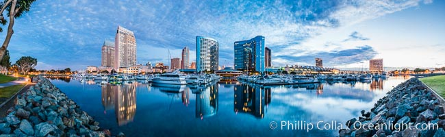San Diego Marriott Hotel and Marina, and Manchester Grand Hyatt Hotel (left) viewed from the San Diego Embarcadero Marine Park, sunrise. San Diego, California, USA, natural history stock photograph, photo id 28820