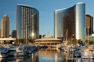 San Diego Marriott Hotel and Marina, viewed from the San Diego Embarcadero Marine Park. San Diego, California, USA, natural history stock photograph, photo id 26562