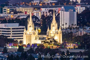 San Diego Mormon Temple with Christmas Lights, La Jolla, California