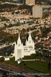 San Diego Mormon Temple, is seen amid the office and apartment buildings and shopping malls of University City, La Jolla, California