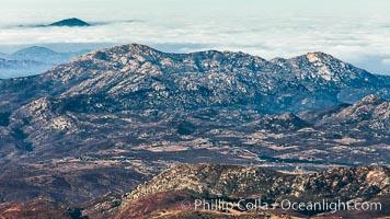 San Diego mountains, aerial photograph