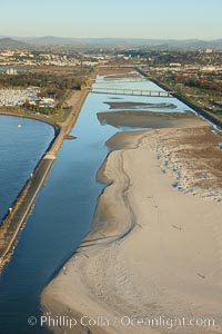 San Diego River, constrained by levees and jetties on both its north and south sides, just before it empties into the Pacific Ocean south of Mission Beach