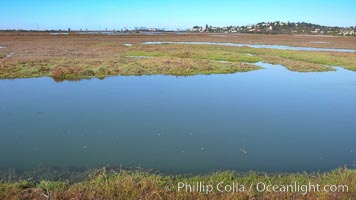 San Elijo lagoon at high tide, looking from the south shore north west, San Elijo Lagoon, Encinitas, California