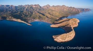 San Evaristo at dawn, panoramic view, a small fishing town, aerial photo, Sea of Cortez, Baja California