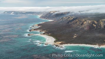 San Miguel Island south side, aerial photograph. California, USA, natural history stock photograph, photo id 29386