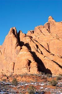 Fins.  The vertical slabs of Entrada sandstone may become natural sandstone arches. Arches National Park, Utah, USA, natural history stock photograph, photo id 18188