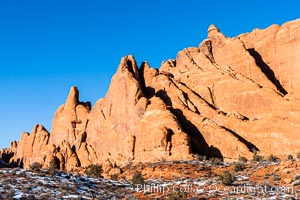 Fins.  The vertical slabs of Entrada sandstone may become natural sandstone arches, Arches National Park, Utah