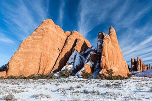 Fins.  The vertical slabs of Entrada sandstone may become natural sandstone arches. Arches National Park, Utah, USA, natural history stock photograph, photo id 18192