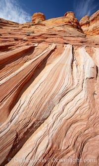 Striations in sandstone tell of eons of sedimentary deposits, a visible geologic record of the time when this region was under the sea, North Coyote Buttes, Paria Canyon-Vermilion Cliffs Wilderness, Arizona
