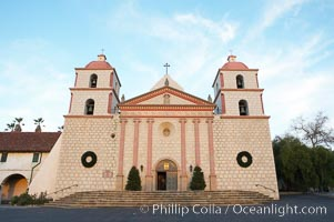 The Santa Barbara Mission.  Established in 1786, Mission Santa Barbara was the tenth of the California missions to be founded by the Spanish Franciscans.  Santa Barbara