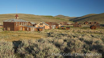 School house and Green Street buildings, in town of Bodie, Bodie State Historical Park, California