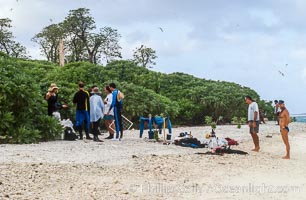 Scientists Setting up Camp on Rose Atoll, prior to starting survey operations, Rose Atoll National Wildlife Refuge