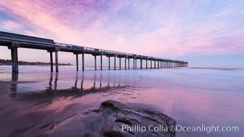 Image 26456, Scripps Pier, sunrise. Scripps Institution of Oceanography, La Jolla, California, USA, Phillip Colla, all rights reserved worldwide. Keywords: beach, coast, dock, marine, ocean, outdoors, outside, pacific, pier, pier, scene, scenery, scenic, scripps institution of oceanography, scripps pier, sea, sio pier, sunrise, surf, wave, wharf.