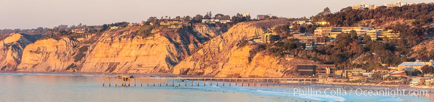 Scripps Pier and Blacks Beach, Sunset, Panorama, La Jolla, California
