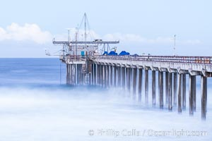 Scripps Pier and Huge Waves, long exposure, sunrise, La Jolla, California