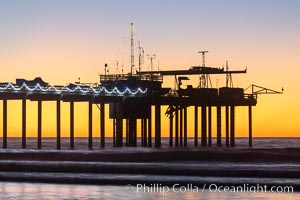 Scripps Institution of Oceanography Research Pier at sunset, with Christmas Lights and Christmas Tree, La Jolla, California