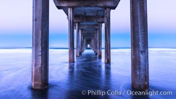 Scripps Pier and moving water, pre-dawn light, La Jolla. California, USA, natural history stock photograph, photo id 28984