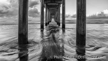 Scripps Pier and moving water, pre-dawn light, La Jolla