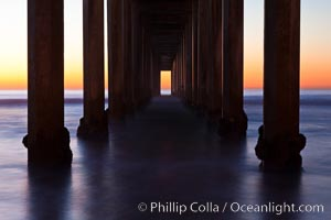 Research pier at Scripps Institution of Oceanography SIO, sunset. Scripps Institution of Oceanography, La Jolla, California, USA, natural history stock photograph, photo id 26532