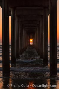 Scripps Pier solstice, sunset aligned perfectly with the pier, Scripps Institution of Oceanography, La Jolla, California