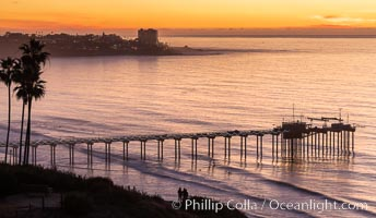 Scripps Pier at Sunset with Christmas Lights, La Jolla, California