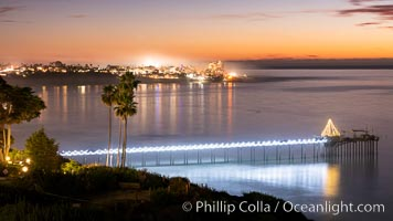 Scripps Pier at Sunset with Christmas Lights. La Jolla, California, USA, natural history stock photograph, photo id 36677