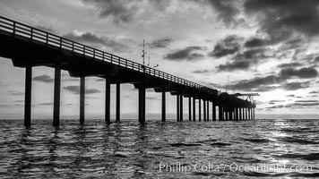 Scripps Pier, Surfer's view from among the waves. Research pier at Scripps Institution of Oceanography SIO, sunset. La Jolla, California, USA, natural history stock photograph, photo id 30145