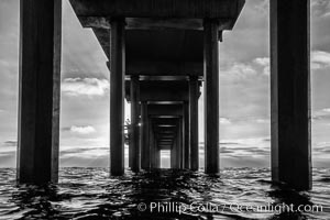 Scripps Pier, Surfer's view from among the waves. Research pier at Scripps Institution of Oceanography SIO, sunset. La Jolla, California, USA, natural history stock photograph, photo id 30156