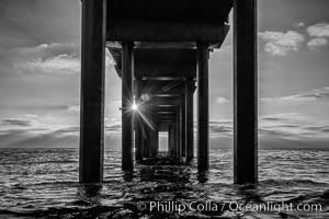 Scripps Pier, Surfer's view from among the waves. Research pier at Scripps Institution of Oceanography SIO, sunset. La Jolla, California, USA, natural history stock photograph, photo id 30157