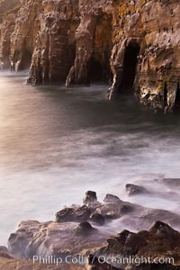 Sea Caves, the famous La Jolla sea caves lie below tall cliffs at Goldfish Point.  Sunrise