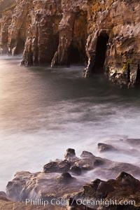 Sea Caves, the famous La Jolla sea caves lie below tall cliffs at Goldfish Point.  Sunrise
