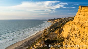 Sea cliffs at sunset over Black's Beach, looking north toward Torrey Pines State Beach, La Jolla, California
